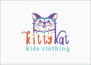 Cute Friendly Cat Logo For Sale