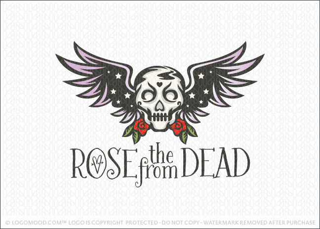 Rose Skull and Wings Company Logo For Sale