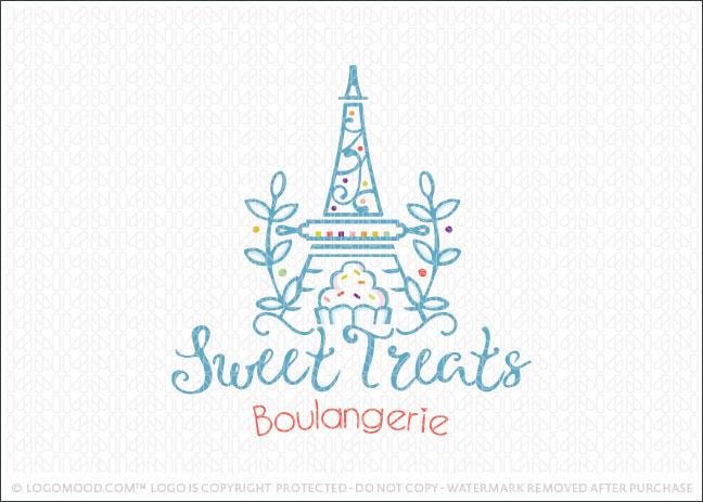 Sweet Treats Eiffel Bakery Logo For Sale