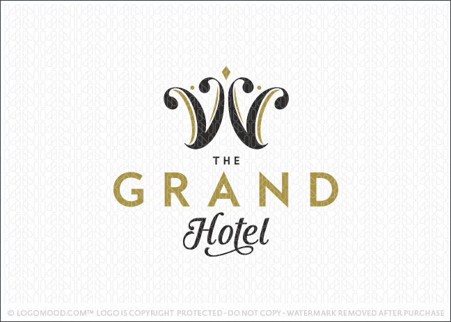 Readymade logos for sale grand hotel crown readymade for Hotel logo design samples
