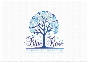 Blue Rose Flower Tree Company Logo For Sale