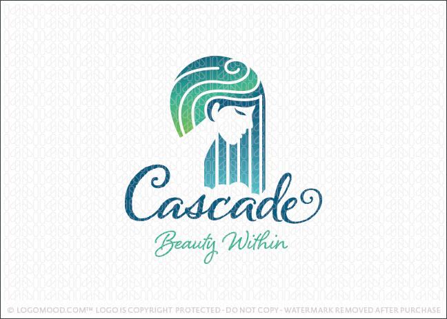 Beautiful Woman Waterfall Cascade Spa Logo For Sale