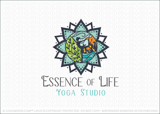 Natural Five Elements Yoga Wellness Studio Logo For Sale