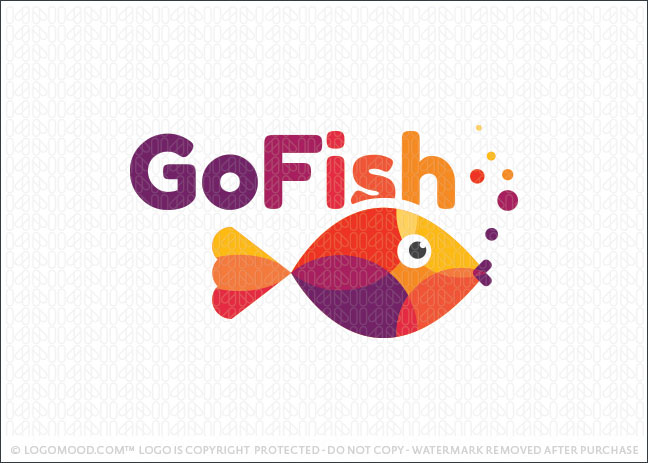 Colorful Vibrant Fish Logo For Sale