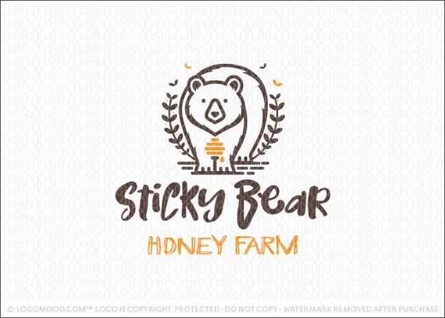 Sticky Honey Bear Farm Logo For Sale