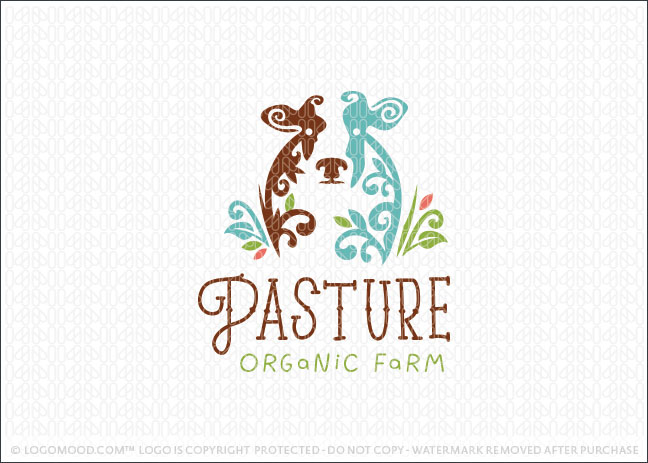 Natural Dairy Farm Cow Logo For Sale