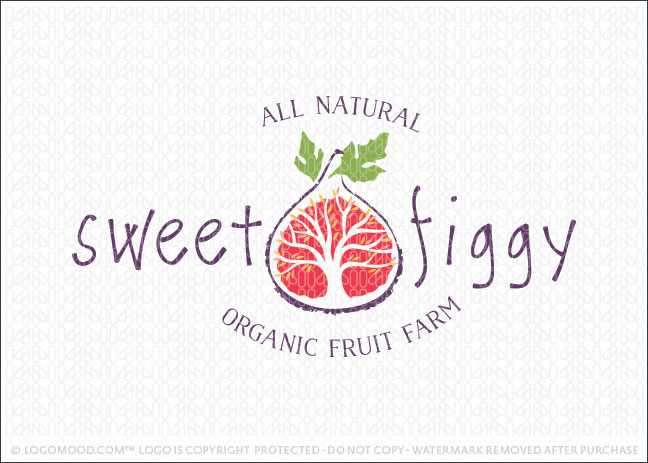 Sweet Fig Fruit Tree Farm Logo For Sale