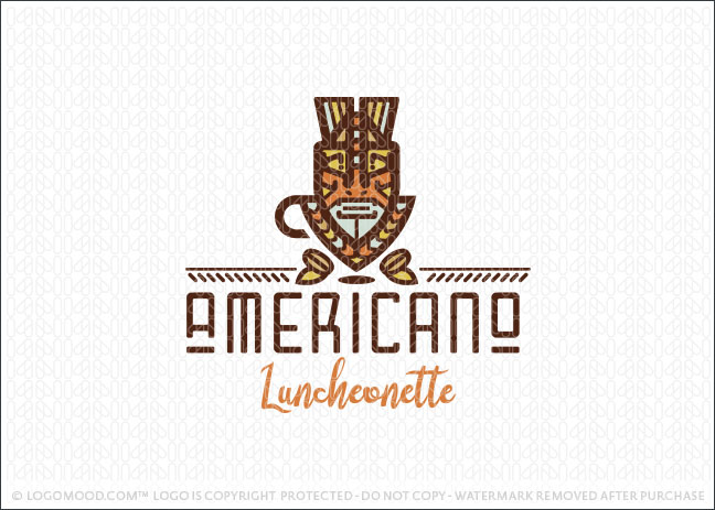 African Tribal Coffee Cafe Logo For Sale