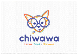 Chihuahua Nerd Dog Logo For Sale