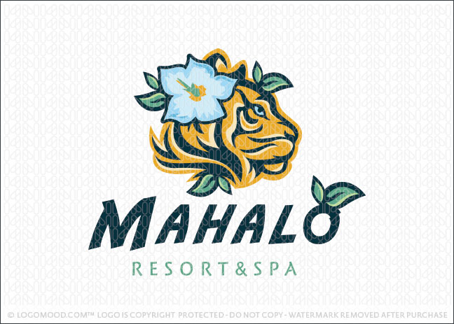 Hawaiian Tiger Hibiscus Flower Logo For Sale