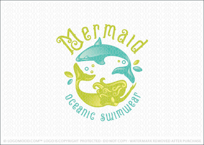 Mermaid and Dolphin Company Logo For Sale
