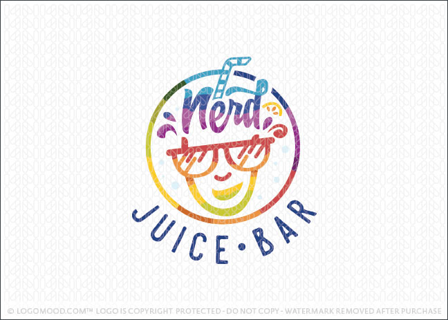 Nerd Fruit Juice Bar Logo For Sale