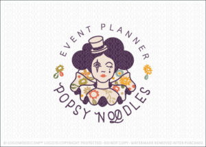 Female Circus Clown Logo For Sale