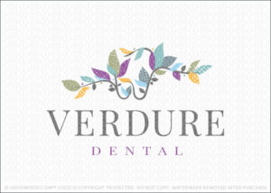 Natural Leaf Vine Dental Company Logo For Sale