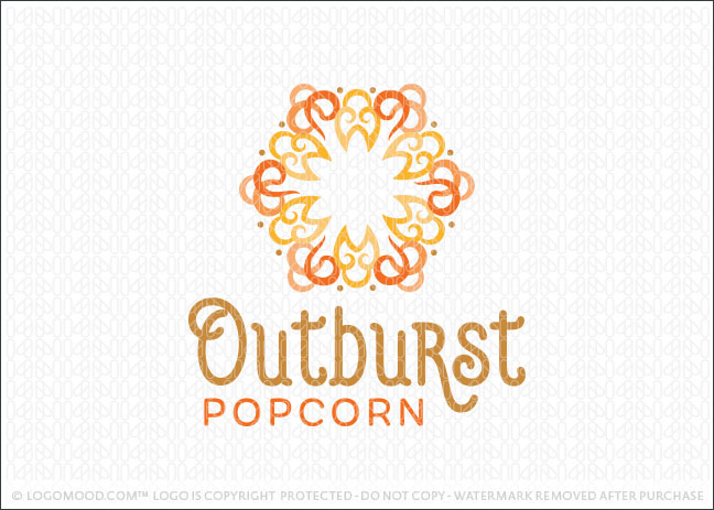 Outburst Popcorn Business Logo For Sale