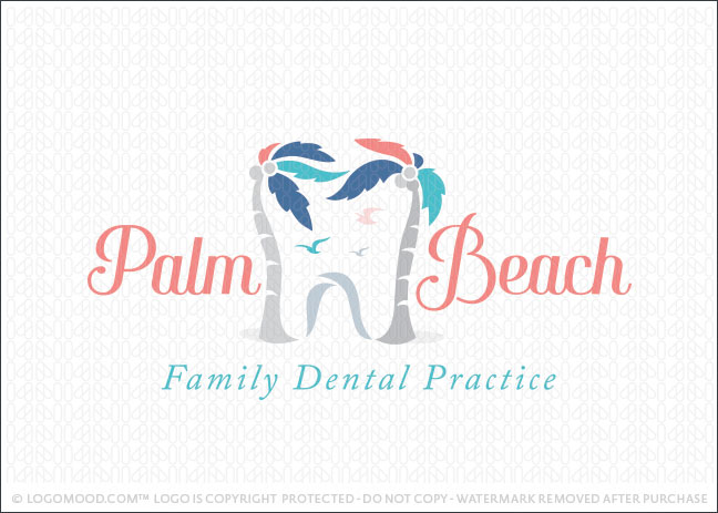 Palm Tree Beach Dental Logo For Sale