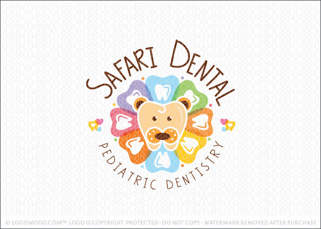 Safari Dental Tooth Lion Logo For Sale