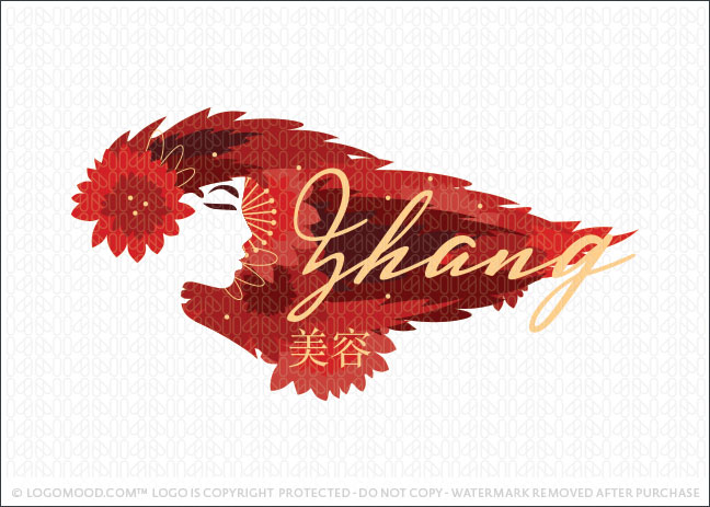 Chinese Beauty Geisha Beauty Red Hair Logo For Sale