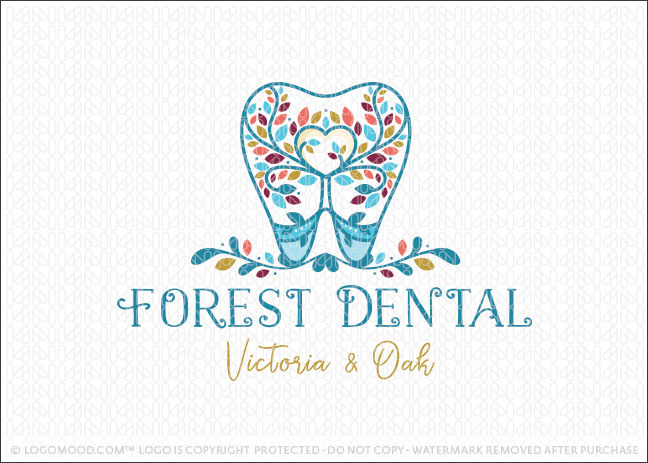 Forest Heart Dental Tooth Tree Logo For Sale