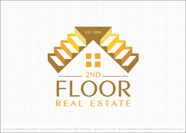 Second Floor Staircase Real Estate Logo For Sale
