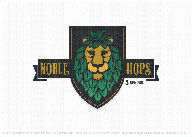 Noble Hops Beer Lion Crest Logo For Sale
