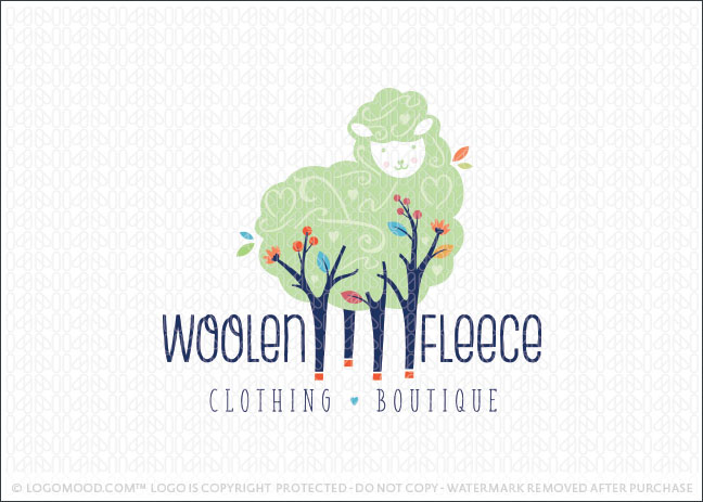 Sheep Forest Tree Logo For Sale