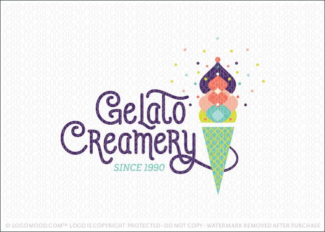 Artistic Gelato Creamer Ice Cream Logo For Sale