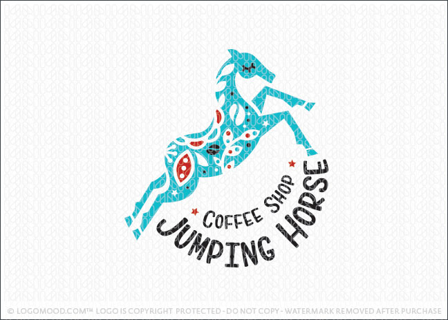 Whimsical Jumping Horse Coffee House Logo For Sale