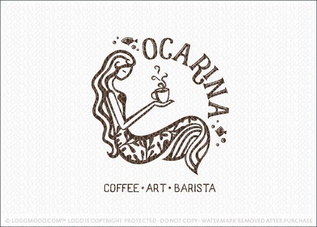 Mermaid Beauty Ocarina Coffee Logo For Sale