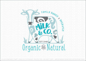 Dairy Milk Cow Organic Natural Farm Logo For Sale