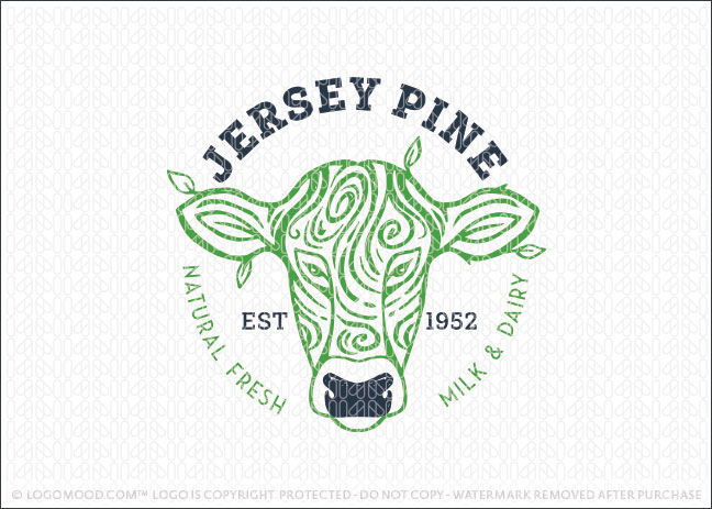 Jersey Natural Milk and Dairy Cow Farm Logo For Sale