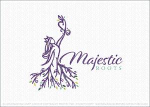 Majestic Tree Roots Woman Beauty Logo For Sale