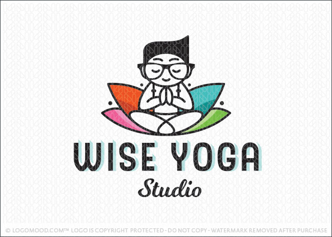 Smart Nerd Yoga Lotus Wellness Logo For Sale