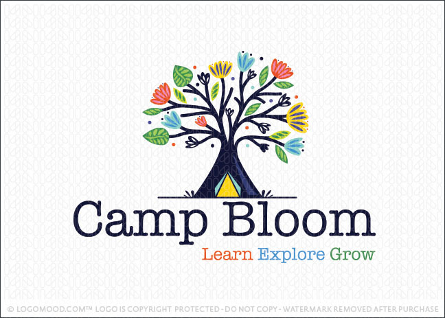 Camping Tent Blooming Flower Tree Logo For Sale