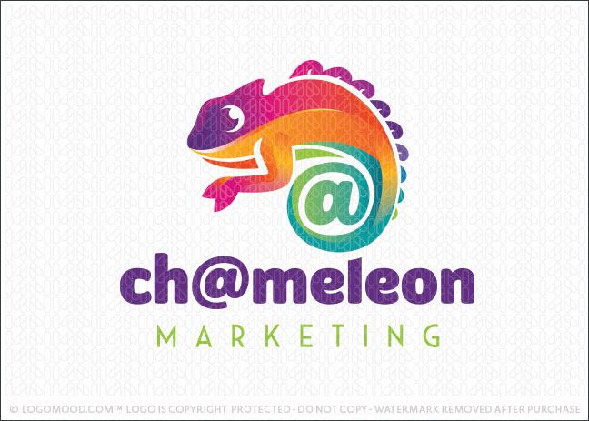 Chameleon Lizard atsign Marketing Logo For Sale