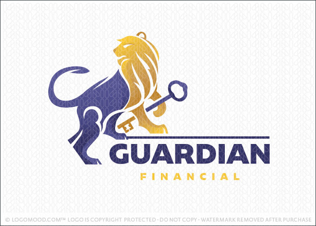 Guardian Lion key Financial Logo For Sale