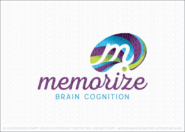 Abstract Memorize Brain Logo For Sale
