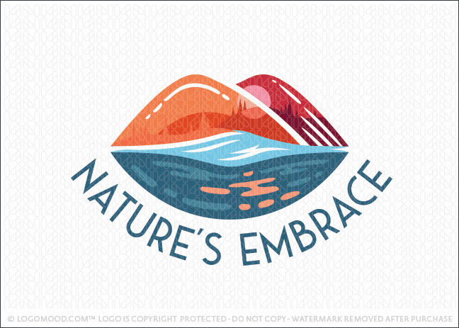 Nature's Embrace Lip Mountain Outdoor Logo For Sale