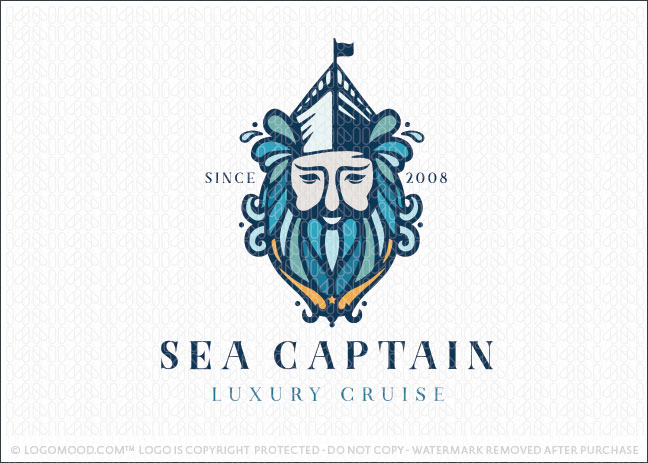 Poseidon Sea Captain Logo For Sale