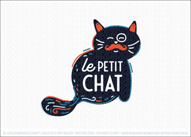 Le Petit Chat Cat Animal Logo For Sale