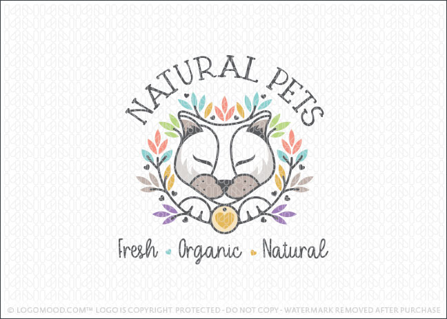 Natural Kitty Cat Pet Care Logo For Sale