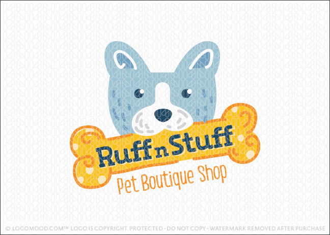 Dog Fetching Bone Pet Shop Logo For Sale