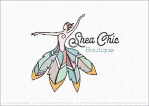 Boho Hippie Chic Woman Dress Logo For Sale