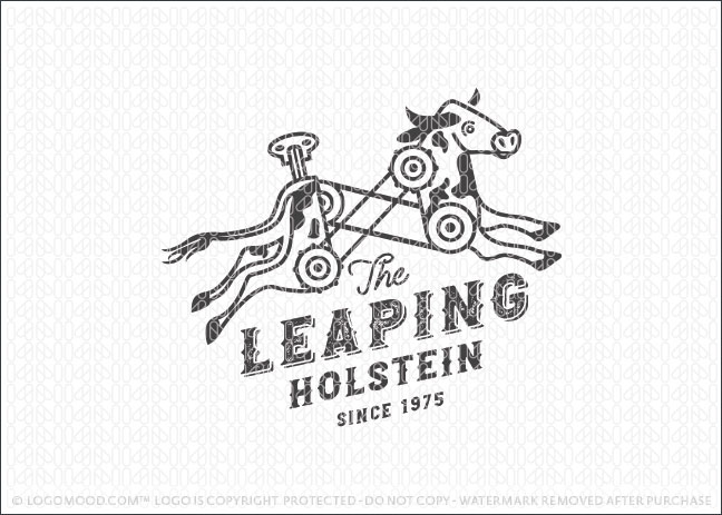 Mechanical Leaping Cow Logo For Sale