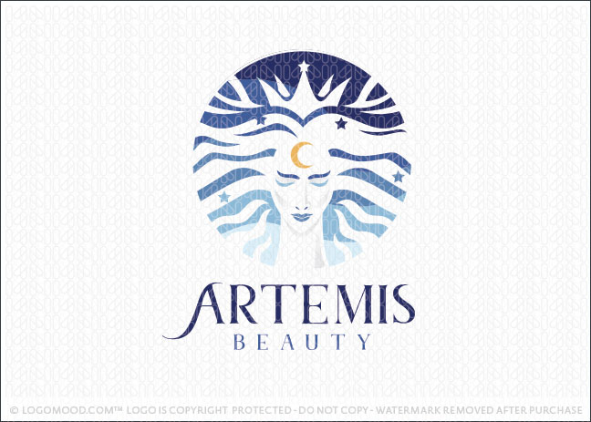 Artemis Beauty Goddess Woman Logo For Sale
