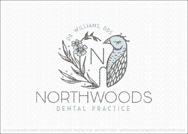 Northwoods Bird Dental Practice Logo For Sale