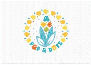 Pop Dots Popcorn Logo For Sale