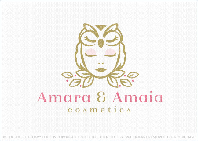 Owl Woman Natural Cosmetics Logo For Sale
