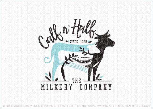 Cow and Calf Milk Company Farm Logo For Sale