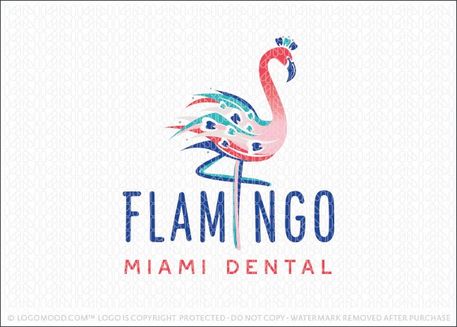Flamingo Bird Dental Practice Logo For Sale